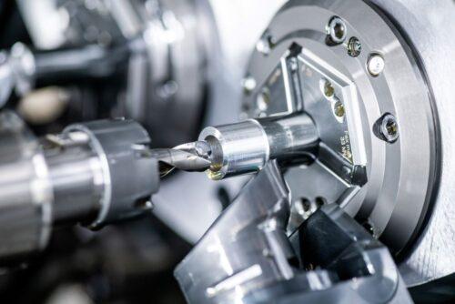 Multi spindle screw machine closeup